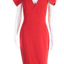 Badgley Mischka Womens v Neck Cap Sleeve Cold Shoulder Dress Pink Size 4 Photo