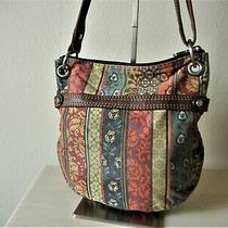 Bag Fossil Crossbody Traveler Leather/jacquard Floral Shoulder Purse Messenger Photo