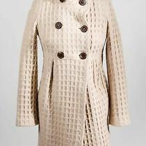 Bagatelle Beige Wool Blend Womens Knit Jacquard Waffle Double-Breasted Coat Sz 2 Photo