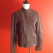Bagatelle Brown Leather Motorcycle Jacket Size 10 Photo