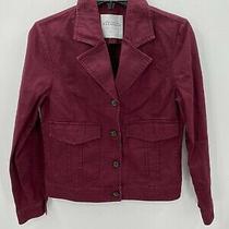 Bagatelle Collection Womens Sz Medium Maroon Denim Jacket Coat Button Up Photo
