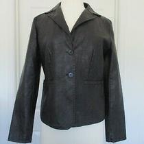 Bagatelle Contemporary Black Button Front Faux Leather Blazer Jacket Women Sz S Photo