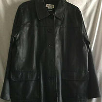 Bagatelle Leather Black Men's Coat Jacket Trench Buttoned Front Pockets Photo