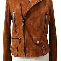 Bagatelle M Burnt Orange Suede Moto Jacket Motorcycle Coat Leather Rust Photo