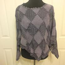 Bagatelle M Purple Boho Suede Crochet Beaded Neckline Poncho Shawl Nwt Photo