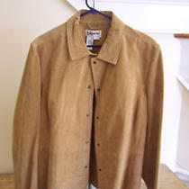 Bagatelle/newport News  Ladies Suede Jacket   Tan  Lined   Size 20w   Snap Front Photo