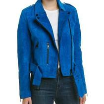Bagatelle Nyc - New Cobalt Blue Suede Leather Belted Zip Lightweight Jacket Coat Photo