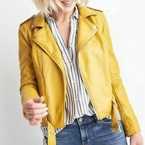 Bagatelle Stitch Fix Xl Mustard Yellow Soft Vegan Faux Leather Crop Moto Jacket Photo