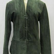 Bagatelle Sz S Olive Green Suede Long Sleeve Hook & Eye Front Jacket 80896bag Photo