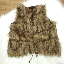 Bagatelle Tiered Faux Fur Lined Vest Jacket Womens Large Brown Tie Front Photo