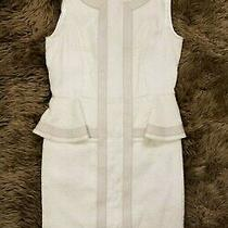 Bagatelle White Lace Dress With Leather Trim Peplum Size S Photo