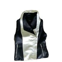 Bagatelle Women's Vest Motorcycle Leather Fabric Sides Zip Front Size M Photo