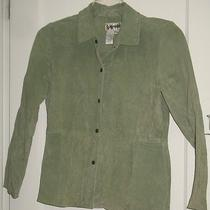 Bagatelle Womens Size 4 Green Suede Leather Shirt Jacket Collared Snap Front Euc Photo