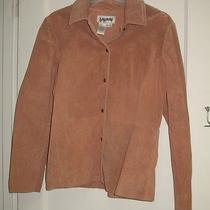 Bagatelle Womens Size 4 Mauve Suede Leather Shirt Jacket Collared Snap Front Euc Photo