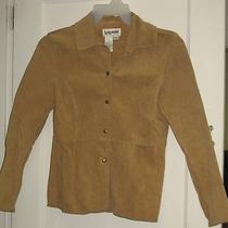 Bagatelle Womens Size 4 Tan Suede Leather Shirt Jacket Collared Snap Front Euc Photo