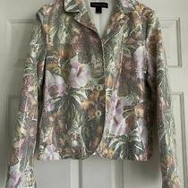 Bagatelle Womens Size Large Floral Metallic Blazer Jacket White Faux Suede 61399 Photo