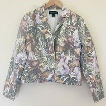 Bagatelle Womens Size Small Floral Metallic Blazer Jacket White Faux Suede 61399 Photo