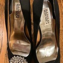 Bagdley Mischka Black Rhinestone Embellished Satin Shoes Photo