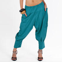 Baggy Aladdin Genie Hippie Yoga Harem Pants - Blue 2xs/xs/s/m 0/2/4/6/8/10 Photo