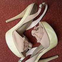 Baker's Christy High Heel Wood Platform Sandals Pink Denim Bow  Slingback  6 Photo