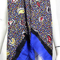Balenciaga 595 Nwt Multi-Color Swinging Paisley Wool & Silk Scarf Photo