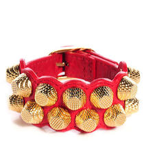 Balenciaga Agneau Lambskin Arena Giant Gold Hw Bracelet Cuff Rouge Cardinal Red Photo