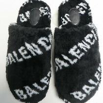Balenciaga Auth Nib home.2 Allover Logo Flat Mules E 45 Us 12 Faux Fur 624515  Photo