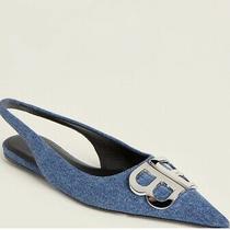 Balenciaga Bb Light Blue Denim Slingback Ballerina Flats Us 10 It 40 Runs Small Photo