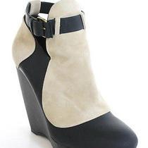 Balenciaga Beige Black Suede Matte Leather Platform Wedges Ankle Booties Sz 38 8 Photo