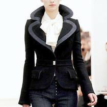 Balenciaga Black Blue Denim Trim Wool Blazer Jacket Fr-36 Photo