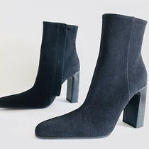 Balenciaga  Black Denim Ankle Boot 544235 Side Zip Heel Booties. Size 41 Photo