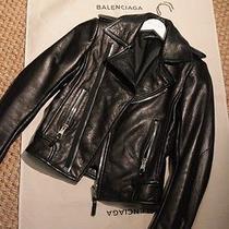 Balenciaga Black Leather Motorcycle Jacket Size 38 Photo