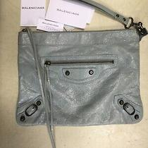 Balenciaga Blue Arena Giant Zip Clutch Leather Bag Agneau Classic Photo