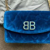 Balenciaga Blue Velvet Quilted Handbag Clutch Photo