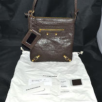 Balenciaga Brown Leather & Gold Nubs Satchel Charbon U Hobo Bag New-Other W/tags Photo