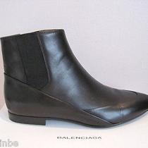 Balenciaga Classic Black Leather Ankle Stretchy Boots Booties Flat 40 10 995 Photo