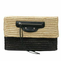 Balenciaga Clutch Bag Raffia Straw Bicolor Leather Natural Black Beige Two Tone Photo