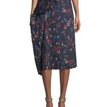Balenciaga Fleurs De Nuit Crepe Pleated Skirt Navy. Size 34 (Retail Price 1395) Photo