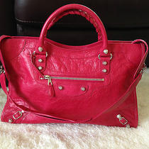 Balenciaga Giant 12 Silver Hw City Rose Thulian Red Shoulder Satchel Tote Bag Photo
