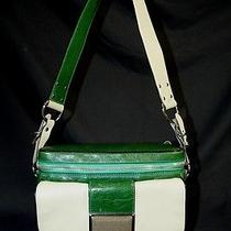 Balenciaga Green/cream Leather Camera Bag Handbag  Photo