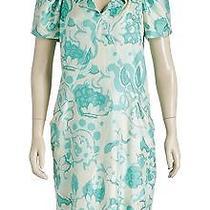 Balenciaga Green Multicolor Short Sleeve Collar Floral Print Dress (Size 8) Photo