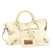Balenciaga Hand Bag Shoulder Bag 2way Leather Beige Auth Gt297 Photo