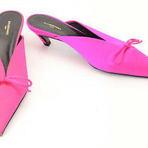 Balenciaga Hot Pink 7 37 Satin Bow Point Toe Slip on Mule Pump Shoe New 750 Photo