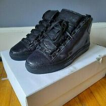 Balenciaga Leather High Arena Stingray Noir Black Sneaker Size 40 100% Authentic Photo