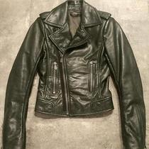 Balenciaga Leather Motorcycle Jacket Forest Green Fr36 Photo