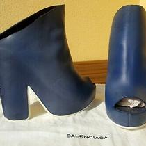 Balenciaga Leather Platform Peep Toe Blue Booties Sz 38 New Photo