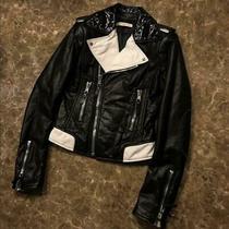 Balenciaga Leather Riders Jacket Women's Black Size S Used 663/me  Photo