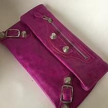 Balenciaga Magenta Pink Leather Shw Giant Envelope Clutch Bag Photo