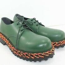 Balenciaga Men's Green Braided Derby Shoes Size 44 9us Size 11) Greens Msrp1095 Photo