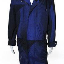 Balenciaga Mens Blue Black Printed Long Sleeve Hooded Coat Size 52 New 107103 Photo